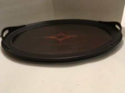 Antique Wooden Inlay Under Glass Oval Butler's Tray With Handles