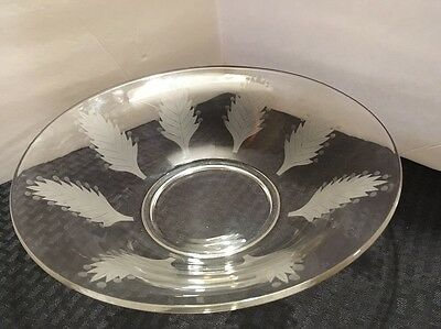 Large 12 inch Antique Etched Leaf Glass Serving Bowl