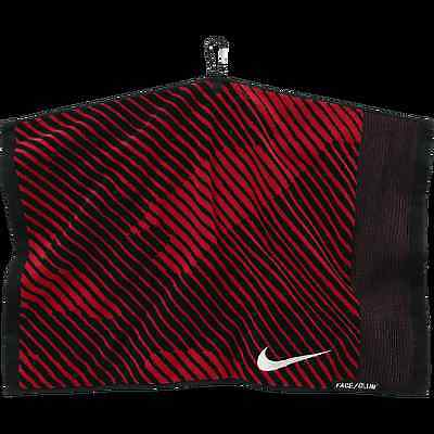 "Nike Jacquard Golf Towel 16"" x 24"", Metal Carabiner Clip, New, Black & Red."