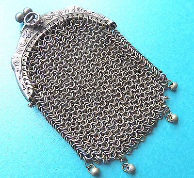 Antique Chatelaine Hang Chain Mail Purse,ornate Top.