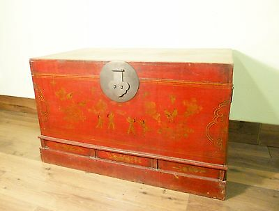 Antique Chinese Trunk (5718), Hand Painted Red Lacquer , Circa 1800-1849
