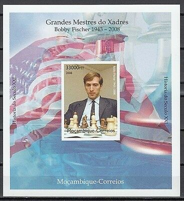 + Mozambique, 2008 issue. Bobby Fischer, Chess IMPERF s/sheet.