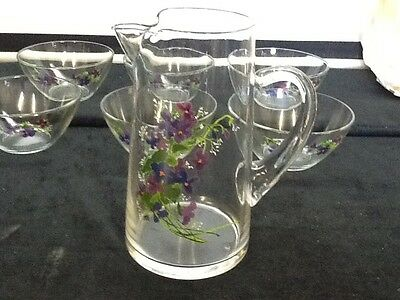 New Avon Wild Violets Collection J. Walsh 40 oz. Pitcher & 6 Crystal Bowls NIB