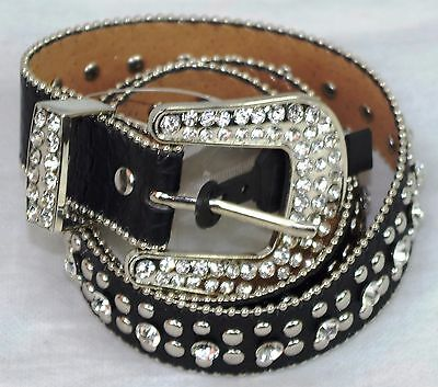 Black Western Rhinestone Belt Girls Size 26