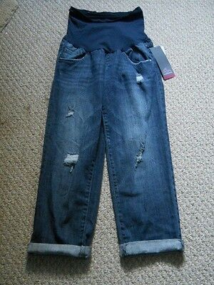 NWT Maternity Oh Baby By Motherhood™ Distressed  Jean Capris Size L