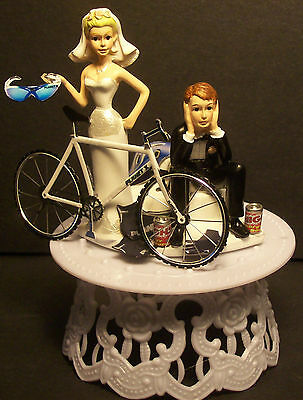 CYCLE Tour Bike Bicycle Sport BRIDE & GROOM WEDDING CAKE TOPPER SPORT Funny