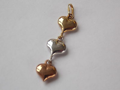 Three Heart Pendant in 9ct Yellow, White and Rose Gold