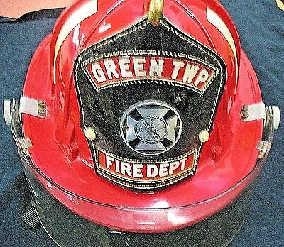 Cairns And Brother Model 880 1969 Rare Red Green Twp. Fire Helmet