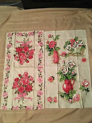 2 Vintage Kitchen Linen Towels Rose Bouquet Beautiful!