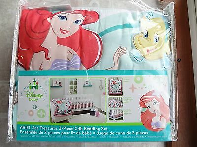 Disney Ariel Sea Treasures 3-Piece Crib Bedding Set (NIB) Free Shipping