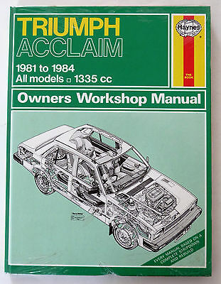 New (sealed) Triumph Acclaim Manual 1981 to 1984, All models 1335cc.