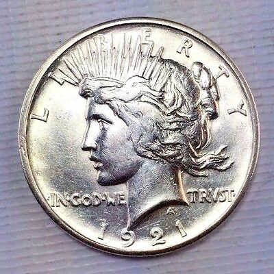 1921 $1 Peace Silver Dollar - Key Date - Sharp Reverse High Relief Coin 1115-137