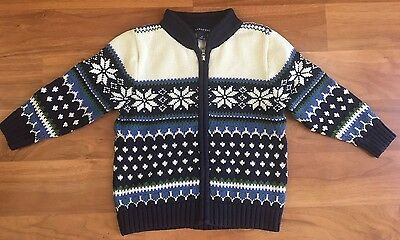 LAND'S END Nordic 100% Cotton Zip Cardigan Sweater size 3T