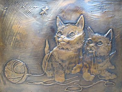 Vintage Pair of Kittens Playing with Ball Copper Hammered Tooled Artwork Plaque