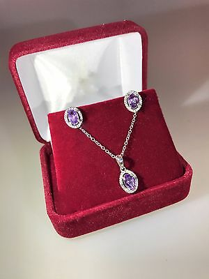 925 Sterling Silver Purple Amethyst Oval Necklace and Earring Set with Diamonds
