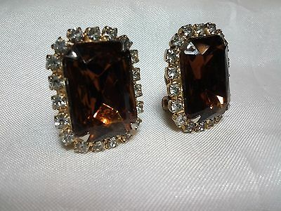 Vintage Estate Gold Amber Topaz High End Faceted Rhinestone Clip Earrings