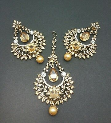 New Indian bollywood Elegant earrings and tikka in lct/white stones jewellery