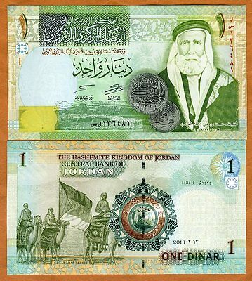 Jordan, 1 Dinar, 2013, Pick 34, UNC    Great Arab Revolt