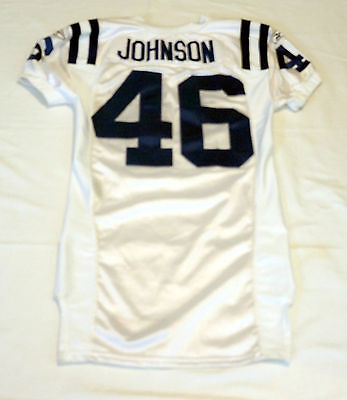 #46 Terrence Johnson Authentic game Issued Indianapolis Colts White Jersey