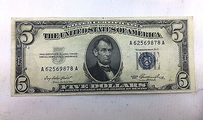 1953 $5 Silver Certificate - Last year of Production - Fine or Better 1111-141