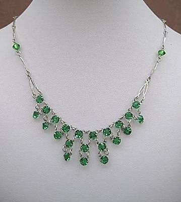 Edwardian/Deco Emerald Green Open Backed Crystal Drop Necklace