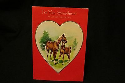 Vintage GOLDEN PALOMINO Valentine card c. 1940s by; Gibson unsigned