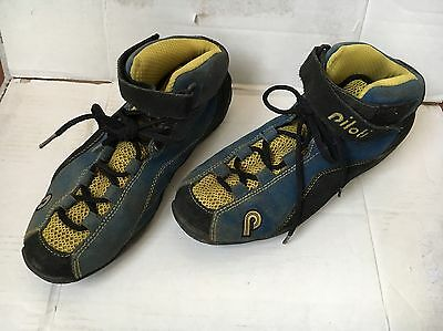PILOTI Ingels Blue Yellow Suede Racing Driving Boot Size 7.5