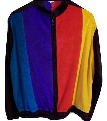 Vintage Women's 80's/90's Velour Color Block Sweatsuit Jacket *See Measurements*