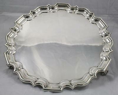 Fine Edwardian Sterling Silver Salver Footed Tray Fully Hallmarked London 1908