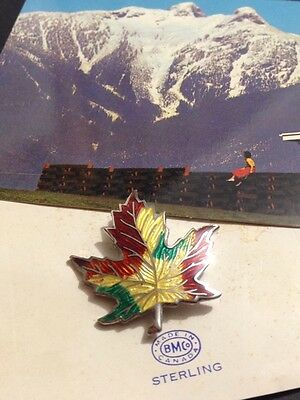 Lovely Vintage Canadian Maple Leaf Brooch, Sterling Silver & Enamel BMCo Canada