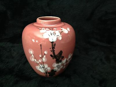 Asian Style Pink Mauve Vase With White Cherry Blossoms Black Stems