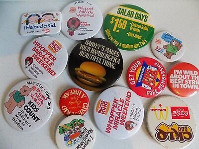 Vtg Pinback Button Badge Lot A1 Burger King McDonalds Fast Good Country Style