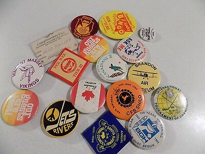 Vtg Pinback Button Badge Lot A15 Manitoba Brandon Vincent Massey Toursim Pee Wee