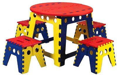 Multi Kids Childrens Folding Foldable Table And 4 Folding Foldable Stools *new*
