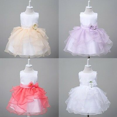 Baby Girls Kids Infant Princess Birthday Wedding Party Pageant Flower Gown Dress