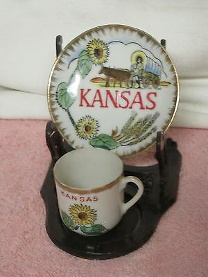 Vintage Souvenir of Kansas Cup / Plate / Display Stand-Sunflowers, Covered Wagon