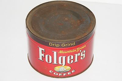 Vintage 1959 SEALED Folger's Mountain Grown Coffee Tin Litho Advertising Can