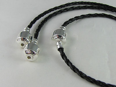 20cm BLACK 925 STAMPED SILVER BRAID LEATHER CHAIN FOR EURO STYLE CHARM BRACELET