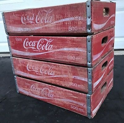 4 Vintage Faded Coke Coca Cola Wood Soda Pop Crates Lot - Free USA Shipping!