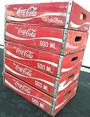5 Vintage Coke Coca Cola Wood Soda Pop Crates Lot - Free USA Shipping!