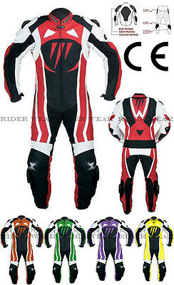 Rider Motorbike Motorcycle Leather Suit 100%Leather Racing CE Armors Suit