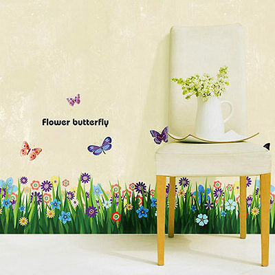 DIY Flower Grass Butterfly Wall Stickers Mural Decal Removable Window Kid Decor