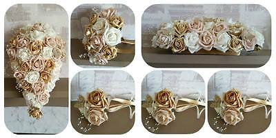 wedding flowers, gold/champagne/ivory. teardrop bouquet, posy,wands,top table