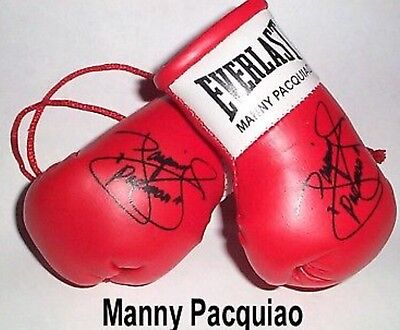 Manny pacquicao Mini Boxing Gloves Signed. Rear View Mirror