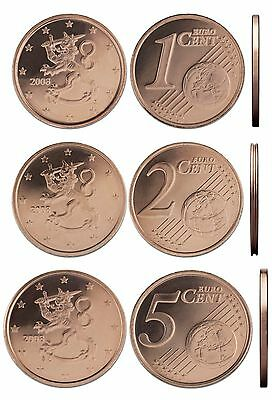 FINLAND ФИНЛЯНДИЯ - SET of Euro coins 2012 - 1cent 2 cent 5 cent UNC