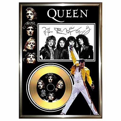 Queen Freddy Mercury - Signed Framed Gold Vinyl Record Cd & Photo Display