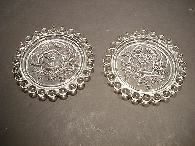 Crystal Candlewick Coaster Rose Embossed set of two