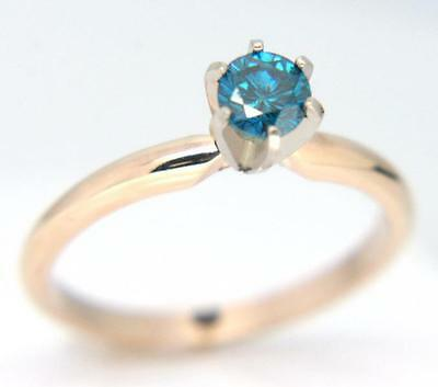 0.24ct Genuine Blue Diamond Solitaire Engagement Yellow Solid 14K 14KT Gold Ring