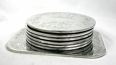 Vintage Silver Plated Placemats Set of 7 Chased Floral