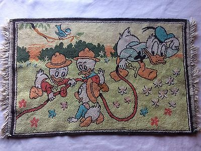 Vintage Disney Donald Duck And Nephews Rug, Collectible, 1950s